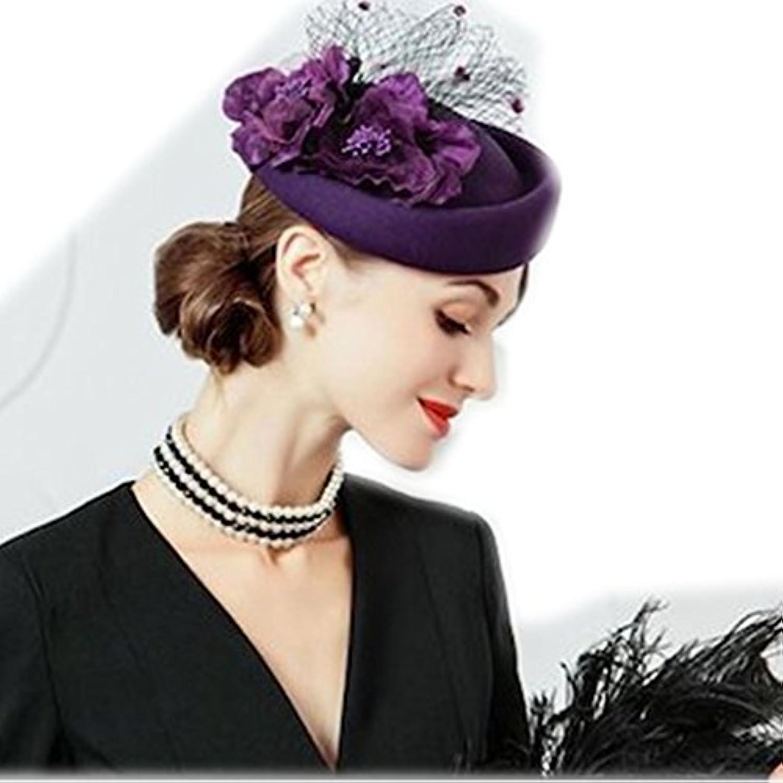 【ノーブランド品】 レディース立体花付き帽子 ベレー帽