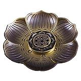 香炉皿 善本堂 線香立お線香用て梅雕透かし彫りアロマ香炉銅器多数ホール付き