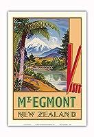 ニュージーランドエグモント山 - タラナキ山 - ニュージーランド鉄道 - ビンテージな世界旅行のポスター によって作成された ジョン・ホルムウッド c.1930s - アートポスター - 33cm x 48cm