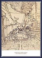 ポスター フィンセント ファン ゴッホ Cafe Terrace at Night 1888 額装品 ウッドベーシックフレーム(ブルー)