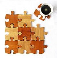 Donyoyo Home design 竹製パズルコースターセット9枚 まな板/3脚台/スプーン置きに 機能1体型多目的キッチンツール2色 装飾/ 断熱/ 家具保護/ 天然竹のまな板
