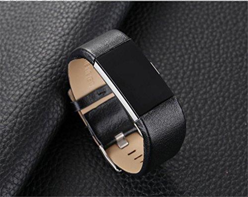 スポーツ 牛革腕時計 ベルト 全6色 FIBIT CHARGE 2対応 (ブラック)