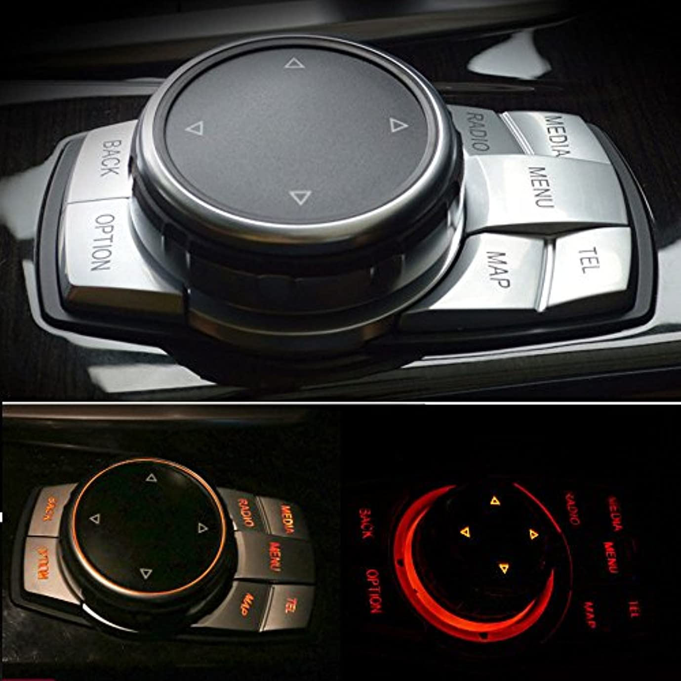収益困惑した邪悪なJicorzo - Interior Chrome Multi-Media Button Cover Trim Decoration Car Styling Sticker ABS For BMW 7 Series E60...