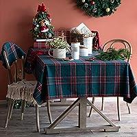長方形のテーブルクロス、市松模様のアクリル生地キッチン用コーヒーテーブルレストラン装飾用のやけど防止抗シワ防止 (色 : 緑, サイズ さいず : 55.1''*86.6'')
