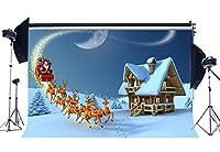 gladbuy 7x 5ftビニール写真バックドロップクリスマスツリートナカイサンタRide Heavy Snow Moon Night冬シーンXmas Backdropsベビーキッズ大人Happy New Year背景写真スタジオ小道具xm322