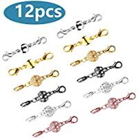 Beinhome 12 Pcs Magnetic Lobster Clasps for Jewelry Necklace Bracelet Rhinestone Ball Style Cylindrical and Ball Tone Lobster Clasp (12PCS)