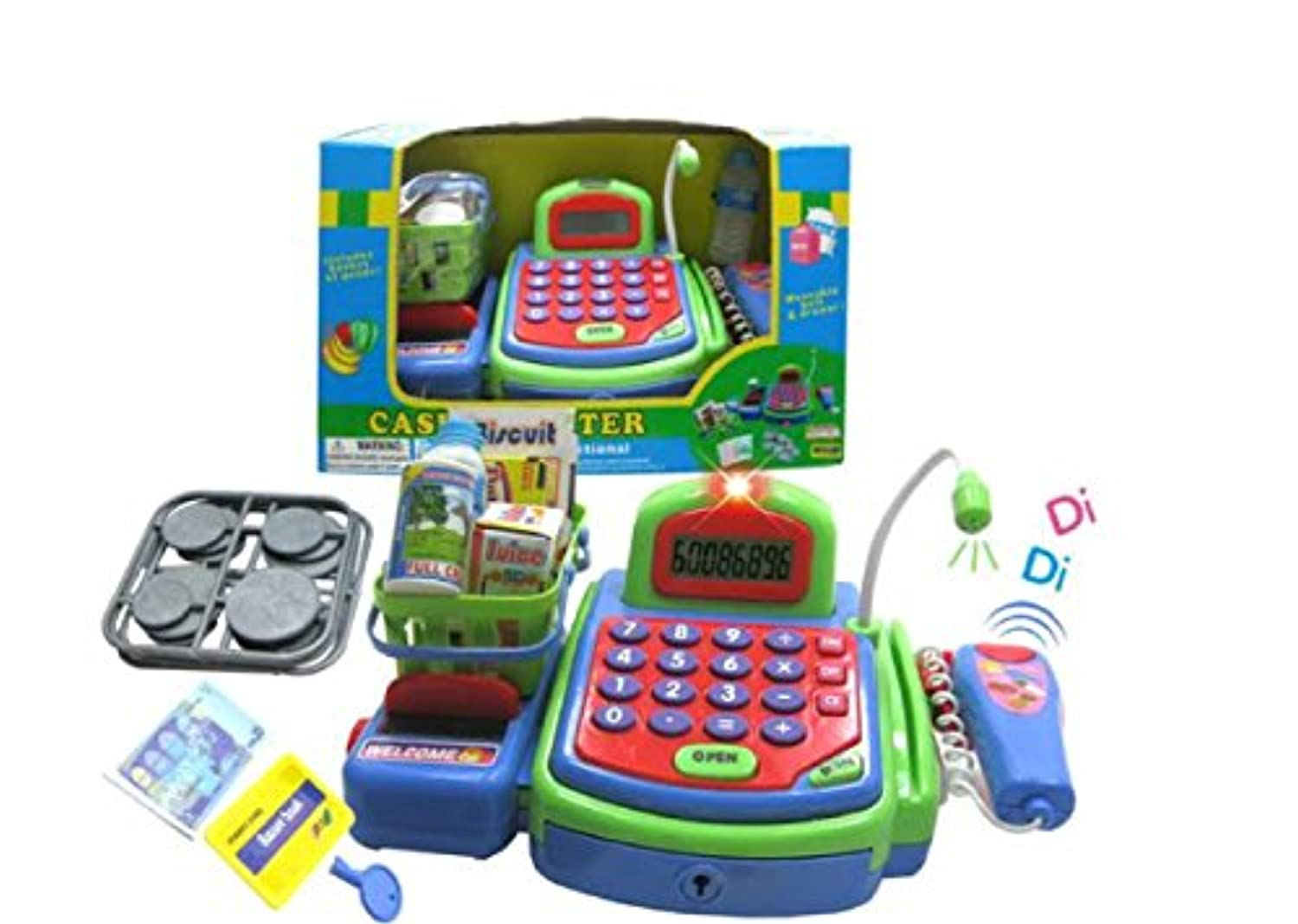 Lvnvtoys@ B/O Electronic Cash Register Green Toy Pretend Play With Sound