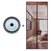 HUYYA 防虫網ドア、ハンズフリー磁気カーテン ドアフレンチドアのセルフシール磁気スクリーン,Brown_38x80in/95x200CM