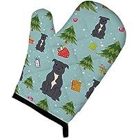 Carolines Treasures BB4706OVMT Christmas Staffordshire Bull Terrier Blue Oven Mitt