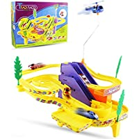 Haktoys Authentic Track Racer PlaySet with Sound/Music | Battery Operated Sport Racing Cars and Spinning Helicopter Building Track Set | Safe and Durable | Great Gift Fun Toy for Toddlers and Kids