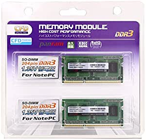 CFD-Panram ノート用 DDR3 1600 SO-DIMM 4GB 2枚組 CL11 LowVoltage(1.35v) W3N1600PS-L4G