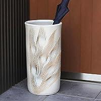 信楽焼 白くし目彫り傘立て しがらき焼 笠立て 陶器 おしゃれ kt-0157 (白)