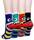 Cansok 3D 動物柄 かわいい レディースソックス ガールズ 靴下 カラフル ファッション 靴下セット カジュアルな レディース靴下 (ボーダー 怪物 (4足組))