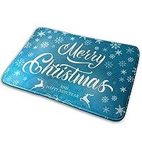 玄関マット 泥落としマット ブルー クリスマス おしゃれ 屋内屋外兼用 キッチンマット ドアマット 洗える 滑り止め付き 耐磨耗性 業務用 家庭用 (60×40cm) BOLACO