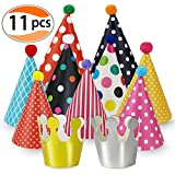 (Party Hats) - Party Hats 11 Pack Fun Cone Party Hats for Kids or Adults By Cefanty