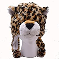 [バックルタウン]Buckletown Leopard Plush Hat Fits Kids and Adults With Long Plush Pom Pom Ties 4540964 [並行輸入品]
