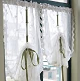 出窓用バルーンカーテン田園風ホワイトレースカーテン (65*180cm)