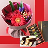 誕生日プレゼント 銀座 千疋屋 ミルフィーユ & 赤い花束 スイーツセット