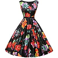 Women Dress, OutTop Vintage Sleeveless Floral Cocktail Party Dress for Special Occasion Black