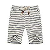 aicessess メンズピュアコットン夏カジュアルショーツストライプビーチパンツ Grey XL