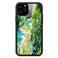 iPhone 11 Pro Max 用 強化ガラスケース クリア 薄型 耐衝撃 黒 カバーケース 自然 滝のある森 iPhone 11 Pro 2019用 iPhone11ケース用