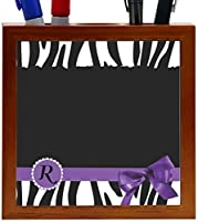 Rikki Knight Letter R Purple Zebra Bow Monogram Design 5-Inch Tile Wooden Tile Pen Holder (RK-PH41707) [並行輸入品]