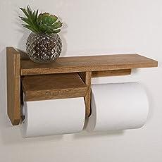 二連 据付トイレットペーパーホルダー 天然木製ミディアムブラウン仕上げ 二連紙巻器 男前インテリアや和テイスト