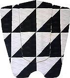 デッキパッド ショートボード サーフィン スリーピース 3P (黒白)