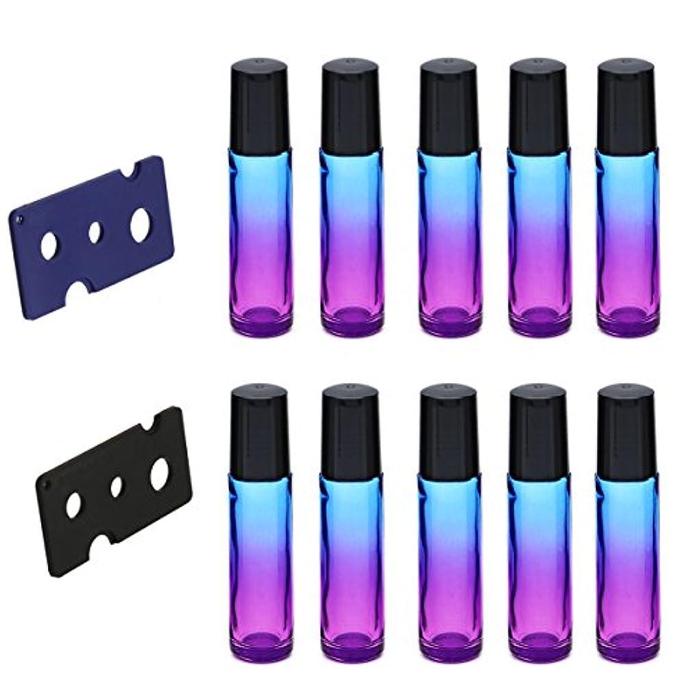バーガーアミューズ書くFrcolor ロールオンボトル 10ml ロールタイプ 遮光ビン 精油 香水 小分け用 多機能 アロマボトル 保存容器 10本セット(パープル+ブルー)