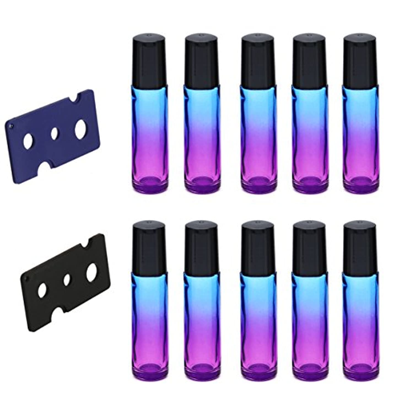 レッスンカナダ交差点Frcolor ロールオンボトル 10ml ロールタイプ 遮光ビン 精油 香水 小分け用 多機能 アロマボトル 保存容器 10本セット(パープル+ブルー)