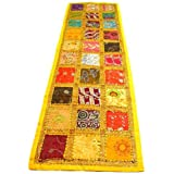 Yellow Indian Table Runner - Embroidered Sequin Cotton Boho Bohemian Hippie Patchwork Runner Tapestry Wall Hanging - Indian D
