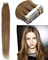 FidgetGear Remyの人間の毛髪延長の継ぎ目が無いPUの皮のよこ糸の毛の16から26インチの古いテープ #10アッシュブラウン