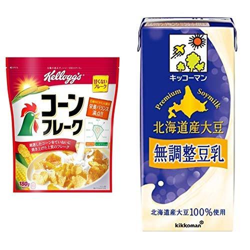 【セット買い】ケロッグ コーンフレーク 180g×6袋 + キッコーマン飲料 北海道産大豆 無調整豆乳 1L×6本