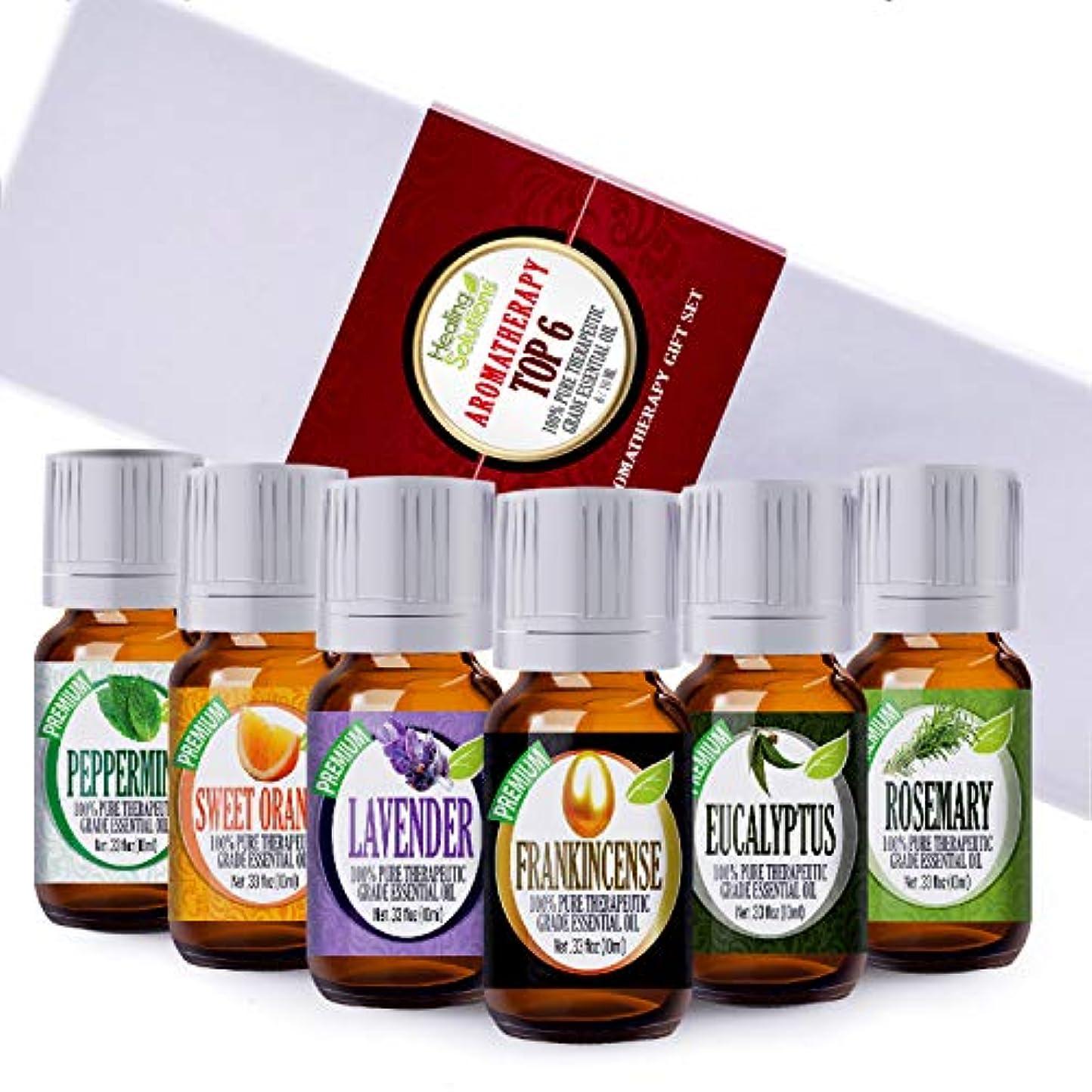 変数ショッキングタフAromatherapy Top 6 - 100% Pure Therapeutic Grade Basic Sampler Essential Oil Gift Set- 6/10 ml Kit by Healing...