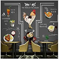 Wuyyii 壁紙3 D韓国フライドチキン鍋料理壁紙手飲み物灰色の壁グルメ落書きグリルレストランホテル壁画-280X200Cm