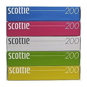 スコッティ ティシュー 400枚(200組) 5箱パック カラーパッケージ