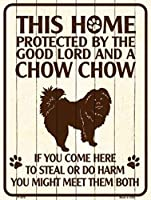 Smart Blonde ビンテージ風 英語版 おしゃれな 猛犬注意の看板 プレート 犬がいます 屋外OK 錆びないアルミ製 (チャウチャウ)