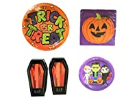 Halloween Party Supplies for 16 Guests: Dinner Plates, Dessert Plates, Luncheon Napkins, and Utensils; 132 Piece Bundle by WSI