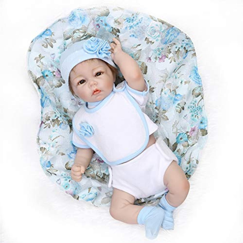 NPKDOLLシミュレーション半分Rebornベビー人形ソフトSiliconeビニール20インチ50 cm Lifelike Vivid Boy Girl Toyブルードレス