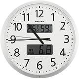 リズム時計 RHYTHM 電波掛け時計 プログラムカレンダー403SR シルバーメタリック色 4FN403SR19