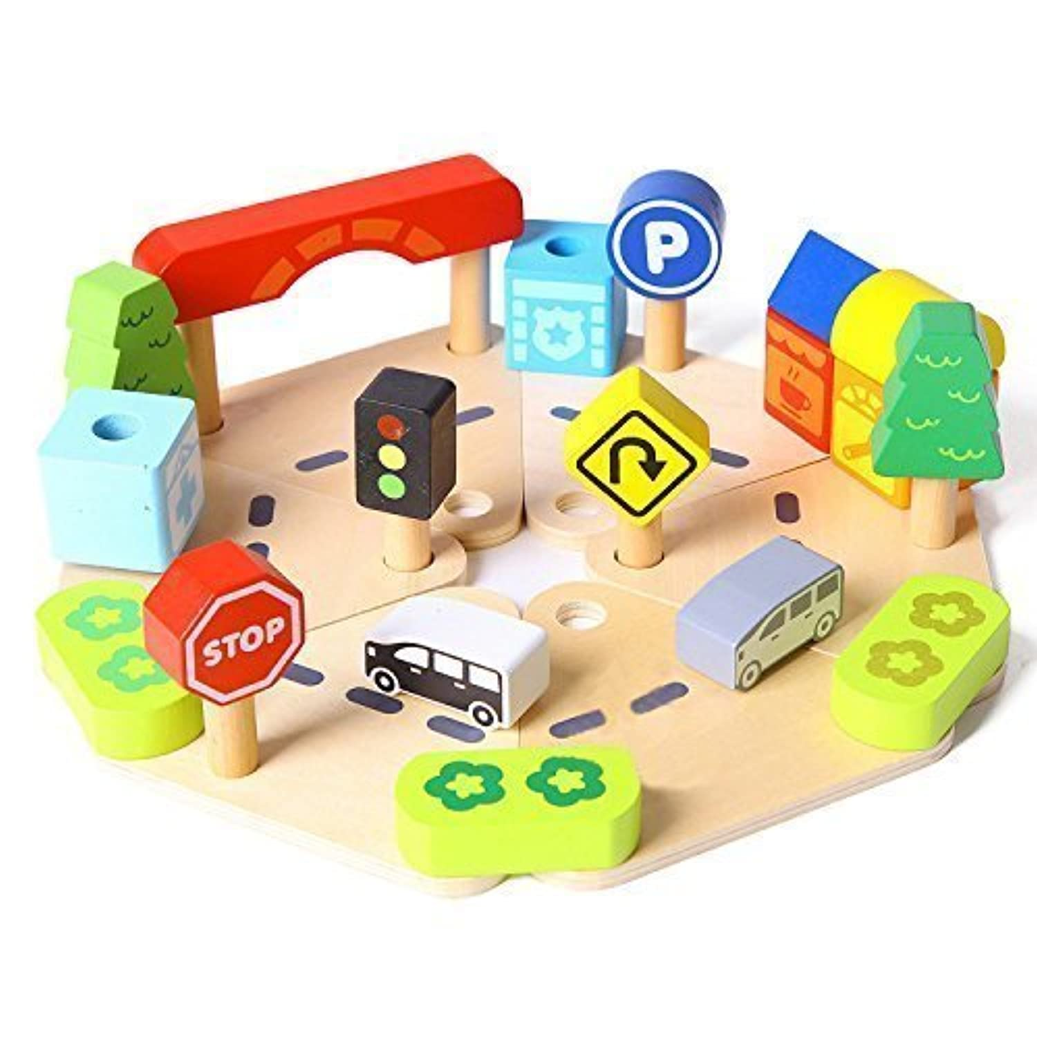 Pretend to Play Toy 24ピース木製City Road Signs Playセットwith Cars木とバスToy Town and Country