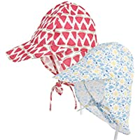 Everyouth Pack of 2 Baby Sun Hat UPF 50+ Toddler Sun Protection Hat Neck Protection Infant Sun Hat Flap Cap