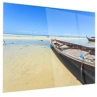 """DesignArt """" Traditionalタイボートon Beach """"モダンSeashore光沢印刷メタル壁アート、28"""" x 12インチ、ブルー"""