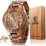 Cucol Wood Grain時計ハンドメイド木製腕時計軽量Quartz Movement Luminous