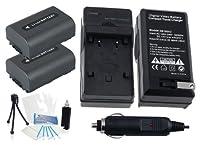 2- Pack np-fh60大容量交換用電池with急速旅行充電器Sony dcr-sr52dcr-sr55dcr-sr57dcr-sr60dcr-sr62–Ultraproボーナス含ま:カメラクリーニングキット、スクリーンプロテクター、ミニカメラ旅行三脚