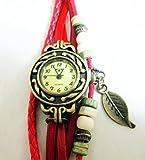 アンティーク調 本革 ベルト レザー ラップブレス 腕時計 リーフチャーム ブレスレット ウォッチ Newカラー追加10色 (レッド)