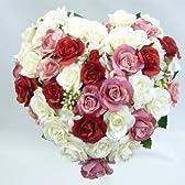 アートフラワー(造花)ブーケ/ミニバラハートブーケ(白&赤&ピンクローズ)  ウエディングブーケ