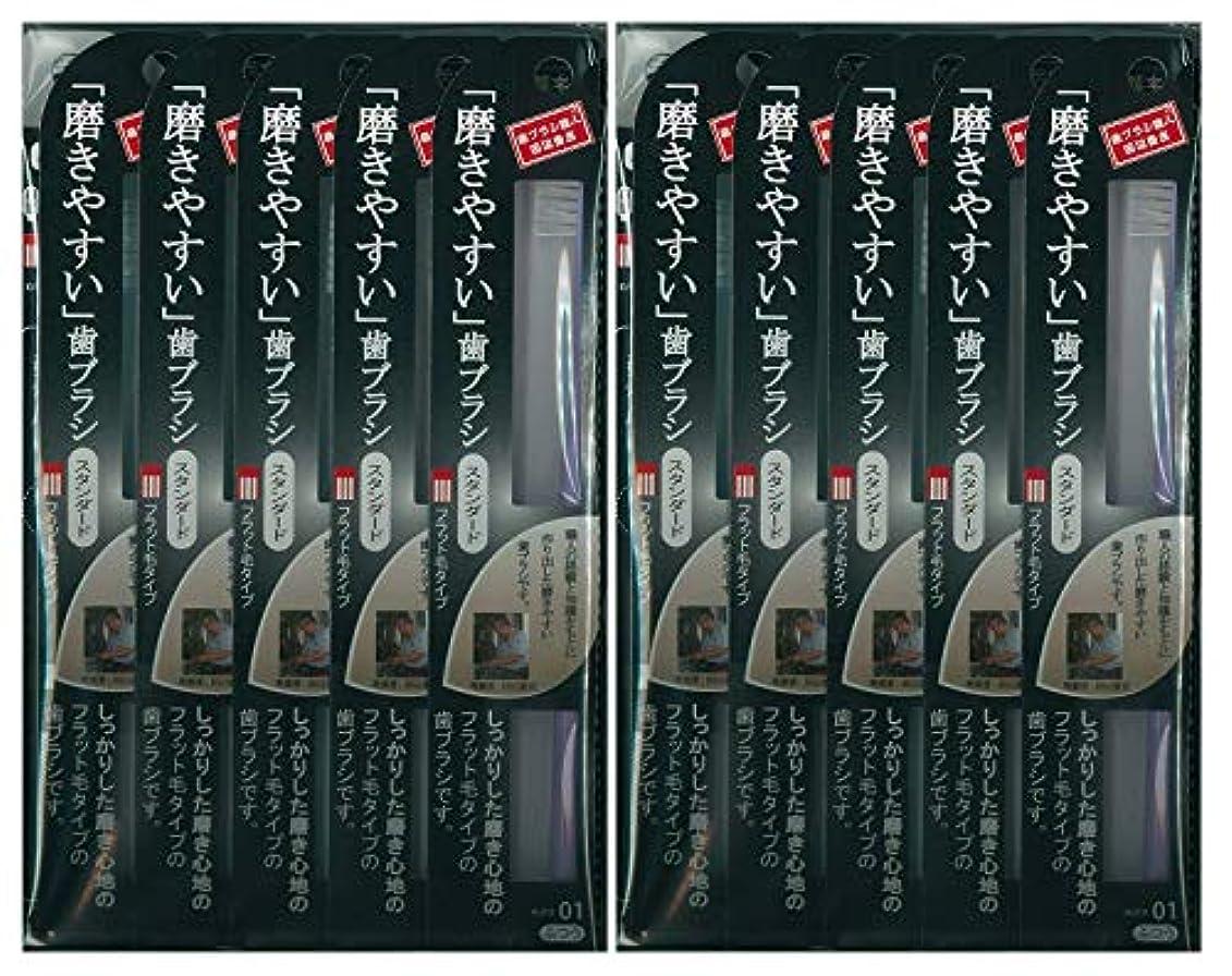 汚いオフ設計図歯ブラシ職人 田辺重吉考案 磨きやすい歯ブラシ ふつう (フラット) LT-01 1本入×24本セット