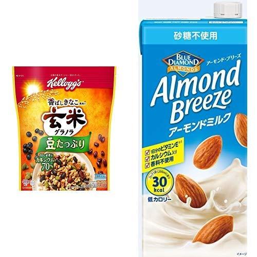 【セット買い】ケロッグ 玄米グラノラ 香ばしきなこ 400gx6袋 + アーモンド・ブリーズ 砂糖不使用 1L×6本
