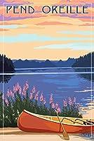 Pend Oreille、アイダホ–カヌー、湖 24 x 36 Signed Art Print LANT-68903-710